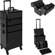 7-in-1 Professional Rolling Beauty Case - Smooth Black