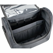 Black Soft Travel Makeup Case with Zippered Pockets and Shoulder Strap