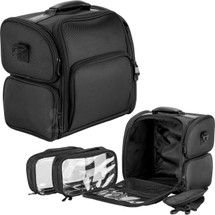 Black Soft Sided Beauty Travel Case with Zippered Pockets and Clear Bags