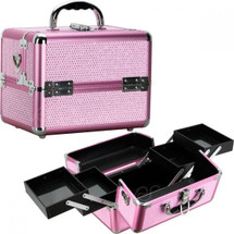 Beauty Case with 4 Pull-Out Trays - Pink or Purple Krystal Bling