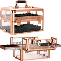 Rose Gold Acrylic Armored Nail and Foundation Holder Beauty Case with 2 Easy-Slide Trays
