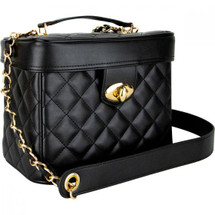 Black Quilted Trunk Bag with Gold Accents & Brush Holder