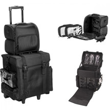 2-in-1 All Black Nylon Profossional Rolling Travel Makeup Case with Drawers, Side Pockets, Brush Holder & Removable Bags