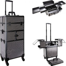 Large Professional Rolling Aluminum Makeup Case with 3-tiers Accordion Trays - Black Krystal