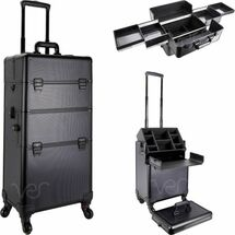 Large 2-in-1 Professional Rolling Aluminum Cosmetic Case with 4 Easy Slide Trays - Black Dot