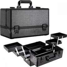 Krystal Bling Pro Makeup Train Case with Brush Cup Holder & 6 Accordion Trays - Gold, Black, Pink or Purple
