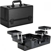 Pro Makeup Train Case with Brush Cup Holder & 6 Accordion Trays - 3 Finishes Available