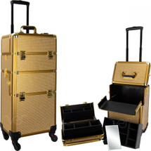 Large Professional Rolling Beauty Case - Gold Krystal Bling
