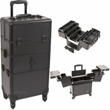2-In-1 Pro Rolling Aluminum Cosmetic Case with 6-Tiers accordion Trays - Smooth Black or Black Krystal
