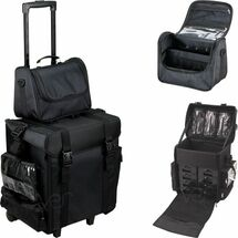 2-in-1 Soft Sided Pro Rolling Makeup Travel Case with Drawers, Side Pockets & Brush Holder