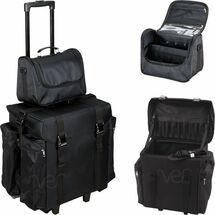 2-in-1 Soft Sided Professional Rolling Hairstylist Travel Case with Drawers & Side Pockets for Curly or Flat Iron