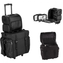 2-in-1 Soft Sided Pro Rolling Makeup Hairstylist Travel Case with Drawers & Side Pockets for Curly or Flat Iron