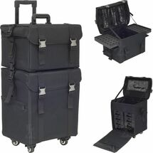 2-in-1 Soft Sided 4-Wheels Pro Rolling Makeup Case with Drawers, Foundation Holder & Clear Bags