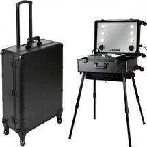 Pro Rolling Studio Makeup Case with Tempered Glass Mirror, Touchscreen Power, 3 Temp LED Lights, Multimedia, Speakers, & Telescoping Legs - Rose Gold or Black Smooth