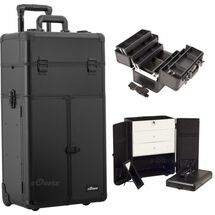 Large 3-in-1 Pro Trolley Rolling Makeup Case with French Door Opening, Large Drawers & 6 Extendable Trays