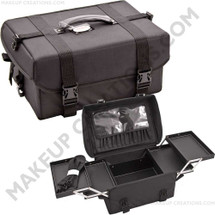 Padded Soft-Sided Rolling Makeup Case with 4 Trays - Black Nylon