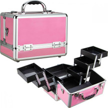 Cosmetic Case - 6 Extendable Trays - Pink Matte
