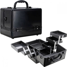 Cosmetic Case - 6 Extendable Trays -  Black Matte