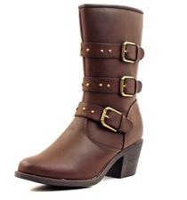 Luckers Women's Buckle Cowgirl Mid-Calf Boots