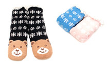 Luckers Girls 3 Pairs  Pack Snuggly Cuddly Grippers Slipper Socks