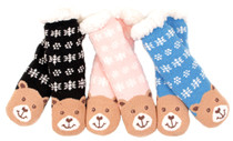 Luckers Womens 3 Pairs  Pack Snuggly Cuddly Grippers Slipper Socks