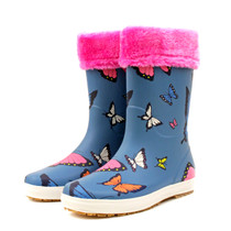 Luckers Girl's Trendy Foldable Wellies Rain Boots