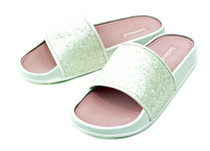 Luckers  Women's Glitter Whitecaps Waves Slide Sandal