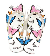 Luckers Women's Awake Butterflies Flip Flops In White and Turquoise