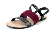 Brace band mid strap ankle sandals with patent upper straps.