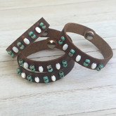 Dusky Leather Cuff with Stones