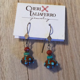 Turqoise and Goldstone glass earrings
