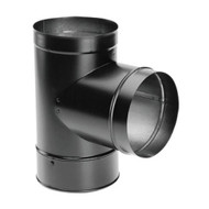 "DuraVent DuraBlack 24-ga Welded Black 6"" Stovepipe Tee With Cover 6DBK-T"
