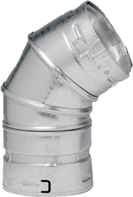 "4GVL45 M & G DuraVent Type B Gas Pipe 45/60 Degree Elbow 4"" Diameter"