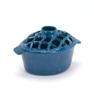 61138 Blue Porcelain Coated Speckled Steamer, 2.25 Qt