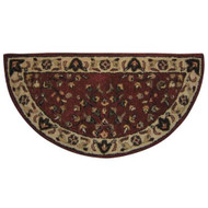"61144 Woodfield Brick Red Oriental Half-round Rug, Wool, 22"" X 44"""