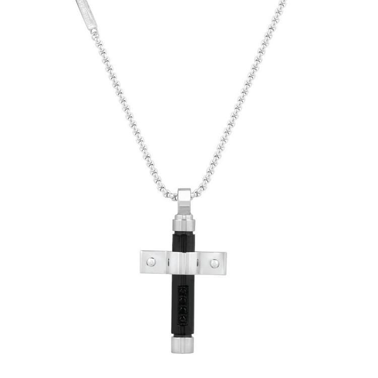 Men's Black and Steel Cross Pendant (MVA0003)