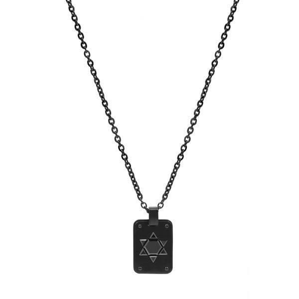 Men's Black Star of David Steel Pendant (MVA0019)