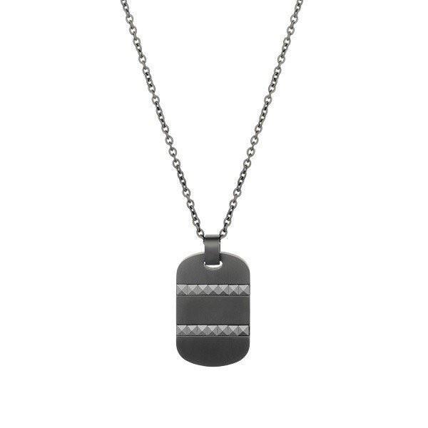 Men's Black Ceramic Steel Dog Tag Pendant (MVA0022)