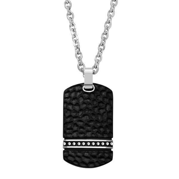 Men's Hammered Dog Tag Steel Pendant (MVA0027)