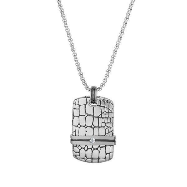 Men's Steel Lizard Dog Tag Pendant (MVA0032)