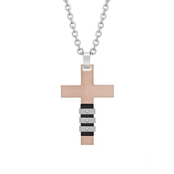Men's Rose Gold Steel Cross Pendant (MVA0035)