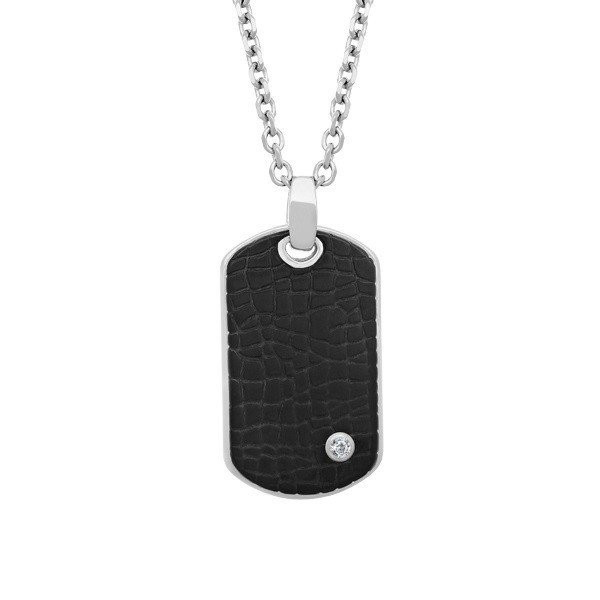 Men's Black Steel Dog Tag Pendant (MVA0041)