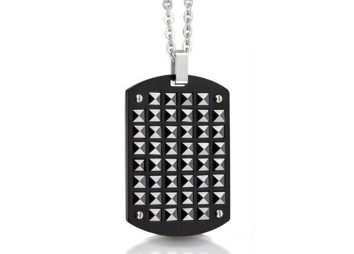 Men's Black Ceramic Studs Steel Dog Tag Pendant (MVA0042)