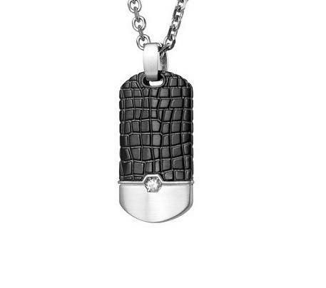 Men's Black Steel Dog Tag Pendant (MVA0044)