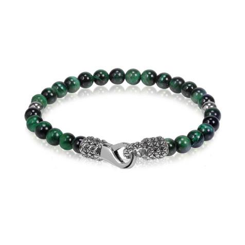 Men's 6mm Green Tiger Eye Bead Steel Bracelet (MVA0047)