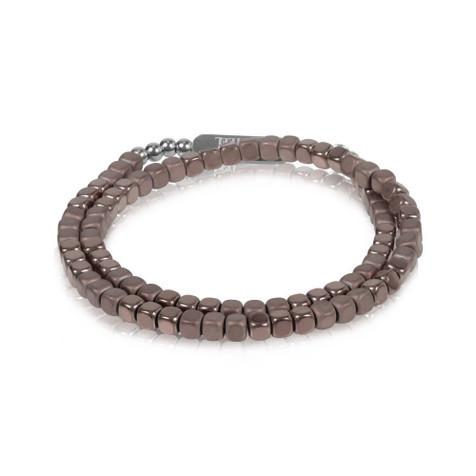Men's Brown Hematite Steel Wrap Bracelet (MVA0053)