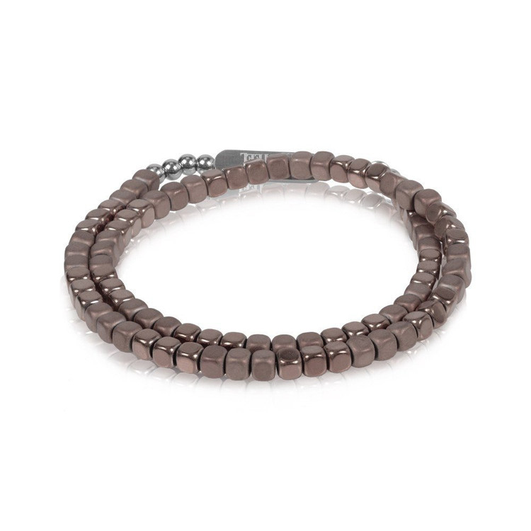 Men's Brown Hematite Steel Wrap Bracelet (MVA0053)