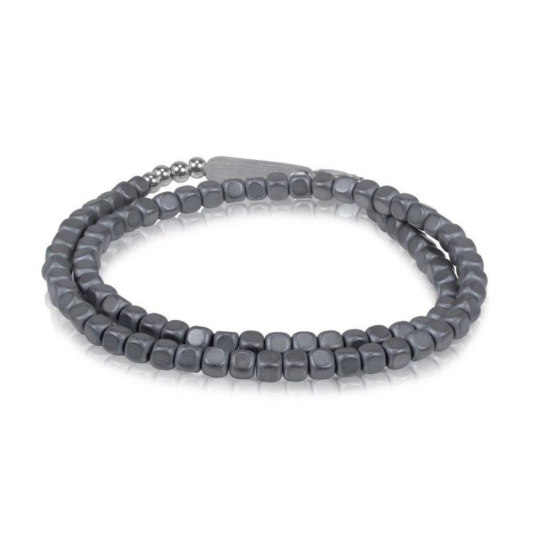 Men's Matte Charcoal Hematite Steel Wrap Bracelet (MVA0055)