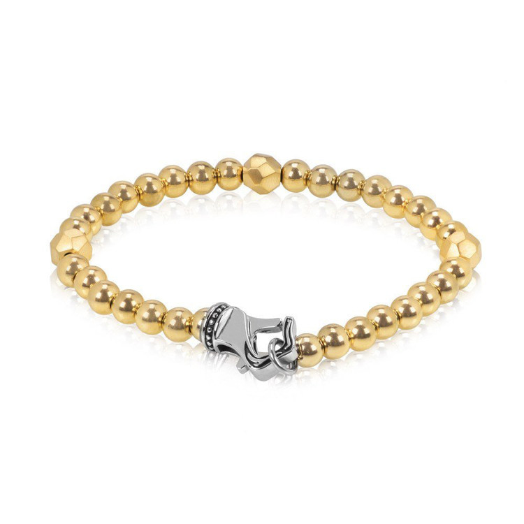 Men's Gold Steel 6mm Bead Bracelet (MVA0056)