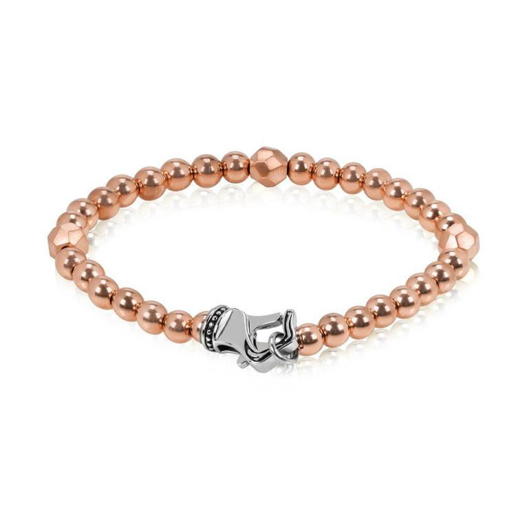 Men's Rose Gold Steel 6mm Bead Bracelet (MVA0057)